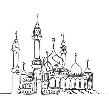 सतत लाइन ड्राइंग की मस्जिद , अरबी, वास्तुकला, कला पृष्ठभूमि छवि
