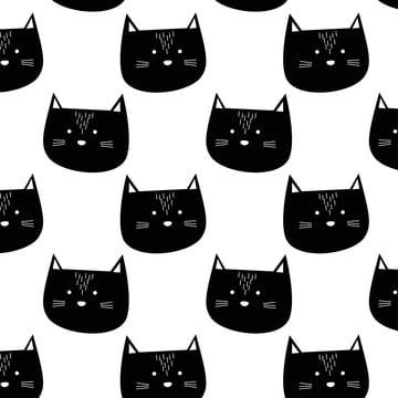 प्यारा काली बिल्ली पैटर्न , आराध्य, पशु, पृष्ठभूमि पृष्ठभूमि छवि