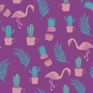 exotic flamingo pineapple palm leaves and cactus seamless pattern background , Hawaii, Illustration, Vector Background image