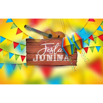 festa junina illustration with acoustic guitar  party flags and paper lantern on yellow background  typography on vintage wood table  vector brazil june festival design for greeting card  invitation or holiday poster , Party, Junina, Festa Background image