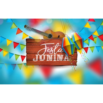 festa junina illustration with acoustic guitar  party flags and paper lantern on blue background  typography on vintage wood table  vector brazil june festival design for greeting card  invitation or holiday poster , Party, Junina, Festa Background image