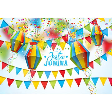 Festa Junina Illustration With Party Flags And Paper Lantern On White Background. Vector Brazil June Festival Design For Greeting Card, Invitation Or Holiday Poster, Party, Junina, Festa, Background image