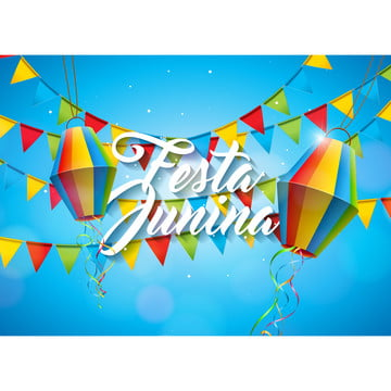 festa junina illustration with party flags and paper lantern on yellow background  vector brazil june festival design for greeting card  invitation or holiday poster , Party, Junina, Festa Background image