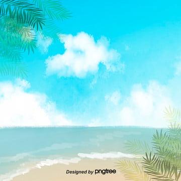 आकर्षक रोमांटिक गर्मियों में समुद्र तट  नीला आकाश सफेद बादलों हरी पत्तियों की बिजली व्यापार पृष्ठभूमि , गर्मियों में समुद्र के द्वारा, समुद्र तट, आकर्षक और रोमांटिक पृष्ठभूमि छवि