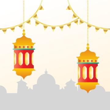 ゴールデンランタンとSilhouhoueteモスクビル , 抄録, アッラー, アラビアン 背景画像