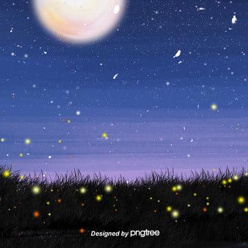 綺麗で新鮮な星空を描きました夜は星と月と蛍の草地の電気商の背景です , 唯美, 夜の夜, 小さな星 背景画像