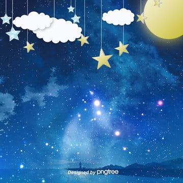 美しい夜の星と月と云の电商背景を描く , 雲の輪, 唯美, 夜の夜 背景画像