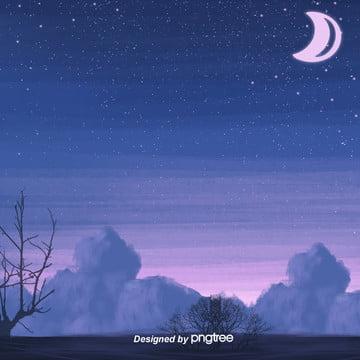 美しい星空の夜、月のシルエットは木を洗って背景を洗います , 影を切る, 唯美, 夜の夜 背景画像
