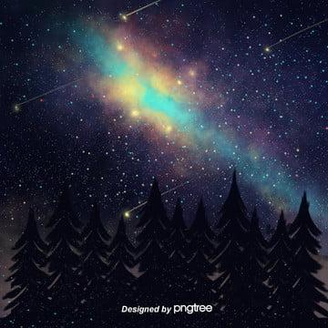 美しい星空の夜のシルエットは、松の電気商の背景に描かれています , 影を切る, 唯美, 夜の夜 背景画像