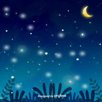 美しい星空の夜に星を描きます , 唯美, 夜の夜, 小さな星 背景画像
