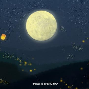 美しい星空の夜の丘の孔明灯の蛍淘宝电商の背景を描きます , 唯美, 夜の夜, 孔明灯 背景画像