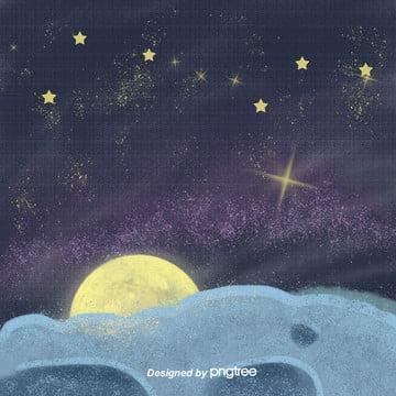 手で描くのは清新で美しい星空です夜は雲と月と星の電気商の背景です , 雲の輪, 唯美, 夜の夜 背景画像