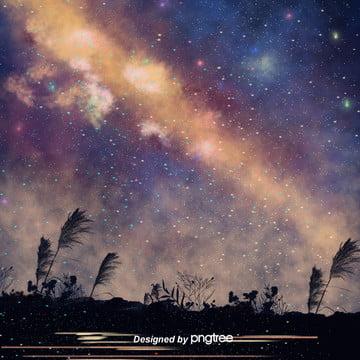 手の絵は清新で美しい星空です夜はシルエット系の電気商の淘宝の背景を切ります , 影を切る, 唯美, 夜の夜 背景画像