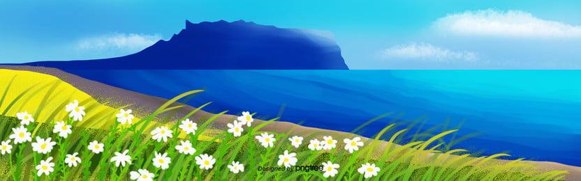 हाथ चित्रित जाजू द्वीप वसंत दृश्य, समुद्र, यात्रा, वसंत पृष्ठभूमि छवि