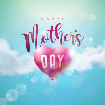 happy mothers day greeting card design with air balloon heart and typography letter on blue cloudy sky background  vector celebration illustration template for banner flyer invitation brochure poster , Mother, Day, Flower Background image