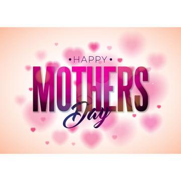 パンフレット フライヤー 心臓の背景に花と活字の要素と幸せな母の日グリーティングカードのデザインバナーのベクトル祝賀イラストテンプレート 招待 ポスター , 抄録, 背景, 旗 背景画像