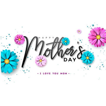 happy mothers day greeting card design with flower and typography letter on white background  vector celebration illustration template for banner  flyer  invitation  brochure  poster , Mother, Happy, Mom Background image