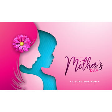 happy mothers day greeting card design with woman and child face silhouette on pink background  vector celebration illustration template with typography letter for banner  flyer  invitation  brochure  poster , Mother, Women, Happy Background image