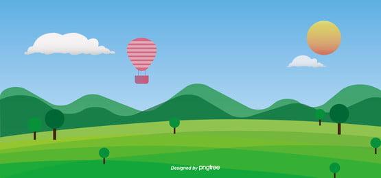 熱気球の青い空, 太陽, 山脈, 緑 背景画像