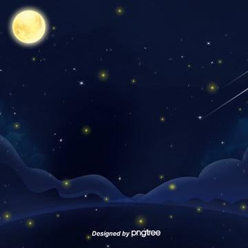 美しい夜の星空の星と月の丘の蛍电商淘宝の背景 , 唯美, 夜の夜, 小さな星 背景画像