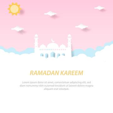 कागज कटौती रमजान करीम ग्रीटिंग कार्ड और बैनर टेम्पलेट , सार, अरेबियन, अरबी पृष्ठभूमि छवि