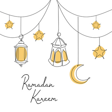 ramadan kareem banner design continuous line drawing of lantern moon and star , Islam, Islamic, Religion Background image