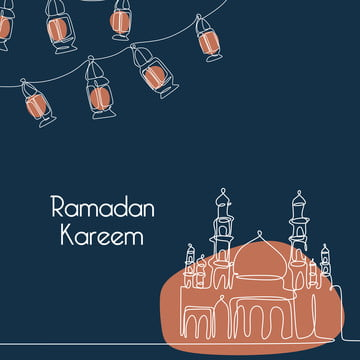ramadan kareem banner template with mosque and lantern continuous line drawing , Architecture, Culture, Month Background image
