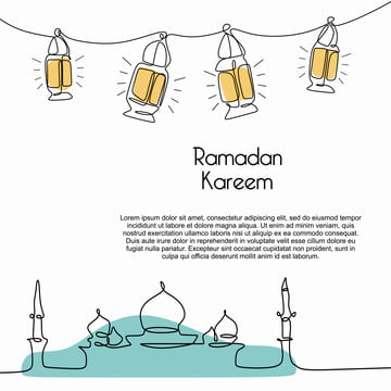ramadan kareem banner template with trendy mosque and lantern continuous line drawing on white background vector illustration , One, Culture, God Background image