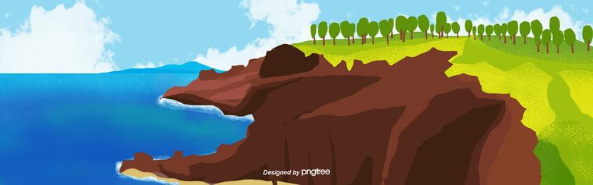 जाजू द्वीप स्प्रिंग द्वीप समुद्र पृष्ठभूमि, यात्रा, वसंत, पेड़ पृष्ठभूमि छवि