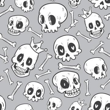 無縫圖案可愛塗鴉頭骨系列 , 卡通, 生物, 交叉骨 背景圖片