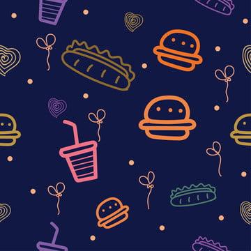 बर्गर गर्म कुत्तों और दूसरों निर्बाध पैटर्न के रूपांकनों के साथ फास्ट फूड , अमेरिकी, कला, पृष्ठभूमि पृष्ठभूमि छवि