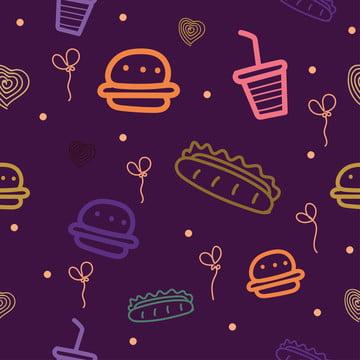 hambúrgueres cachorros  quentes e outros padrão impecável com motivos de fast food , American, Arte, Fundo Imagem de fundo
