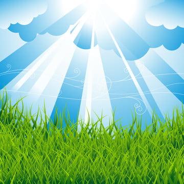 वसंत पृष्ठभूमि के साथ हरे मैदान और नीले आसमान , सार, कला, पृष्ठभूमि पृष्ठभूमि छवि