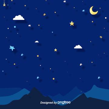 清新で美しい夜の星と月の雲の丘の宝を洗う電気商の背景 , 雲の輪, 唯美, 夜の夜 背景画像