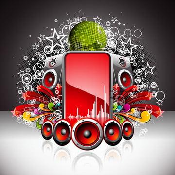 ilustração vetorial para um tema musical com alto  falantes e bola de discoteca , Abstract, Arte, Audio Imagem de fundo
