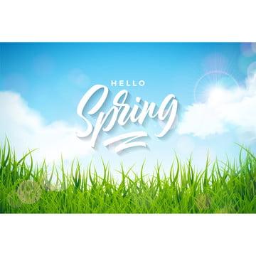 vektor spring ilustrasi dengan rumput hijau di alam lanskap latar belakang bunga bentuk template dengan seni cetak surat , Abstrak, Seni, Latar Belakang imej latar belakang