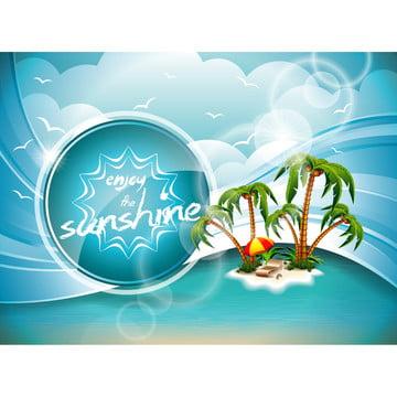 design vetor de folhetos de verão com palmeiras e paraíso ilha em nuvens de fundoilustração eps10 , Abstract, Fundo, Praia Imagem de fundo