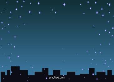 조용한 도시 별 하늘 밤 삽화 배경, 밤, 밤, 밤하늘 배경 이미지