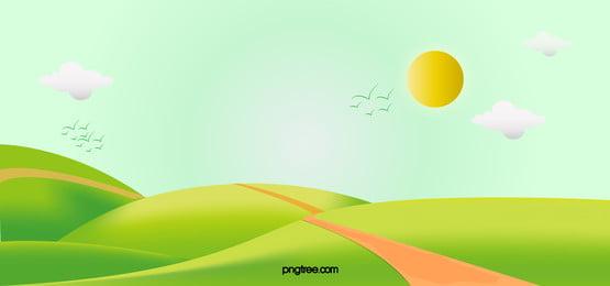 丘の青い空と白い雲の空の太陽雲図, 雲, 太陽, 丘 背景画像