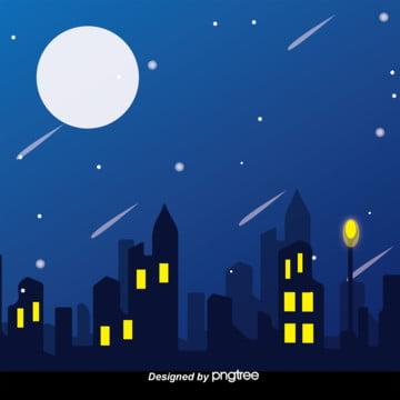都市の夜空の日本式イラスト風星空の背景 , 都市, 夜空, 空 背景画像