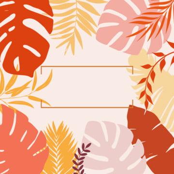 colorful summer monstera hojas en estilo plano sobre fondo rojo , , Tarjeta, Colorido Imagen de fondo