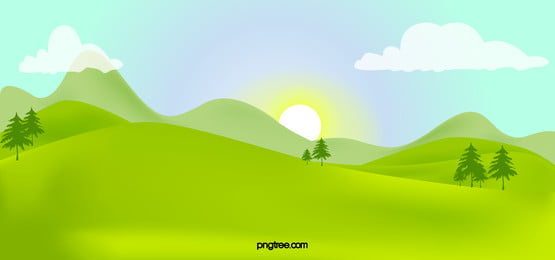 緑の山脈と樹木がよく晴れた空, 雲の輪, 太陽, 山脈 背景画像