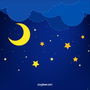 cong dưới bầu trời đêm của tháng và bầu trời đầy sao , Những đám Mây, Đêm, Cong Tháng Ảnh nền