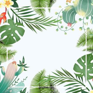 열대 팜 테두리 배경 , 여름날, 종려나무, 종려나무 잎 배경 이미지
