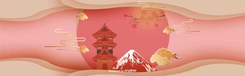 3 d立体カラー日本古塔富士山バナー, 3 D立体buner, カットスタイル, 富士山の背景 背景画像