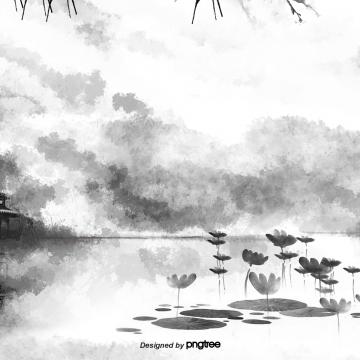 耽美中国風白黒山水水墨画景色 , 作品, 唯美, シーン 背景画像