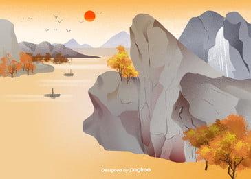 Mùa thu vàng óng cây nền đường Động Vật Mặt Hình Nền