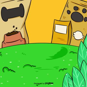 कार्टून लॉन कुत्ते के भोजन पृष्ठभूमि , कार्टून, दृश्य, संयंत्र पृष्ठभूमि छवि