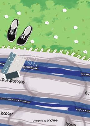 handbemalte outdoor   wiesen picknick   hintergrund , Outdoor -, Handy, Handbemalte Hintergrundbild