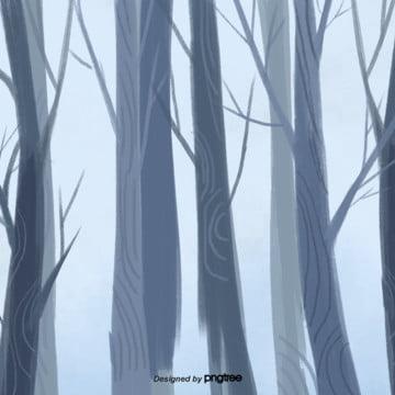 नीले जंगल के पेड़ सर्दियों , तत्वों, सर्दियों, कार्टून पृष्ठभूमि छवि